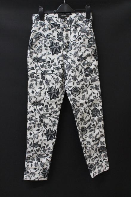 ISABEL MARANT Ladies Black White Denim Floral Print Slim Fit Jeans W26L28