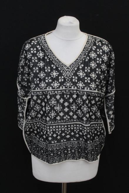 ISABEL MARANT Ladies Black Cotton Blend Kimono Sleeve Cropped Top S NEW
