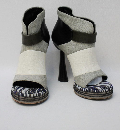 BALENCIAGA Ladies Ghesquiere Grey Leather Platform Sandal Heels EU36 UK3