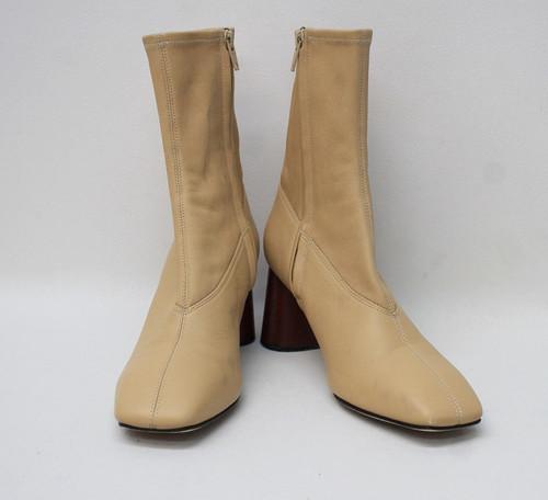 HELMUT LANG Ladies Beige Soft Leather Ankle Sock Boots Size EU36.5 UK3.5