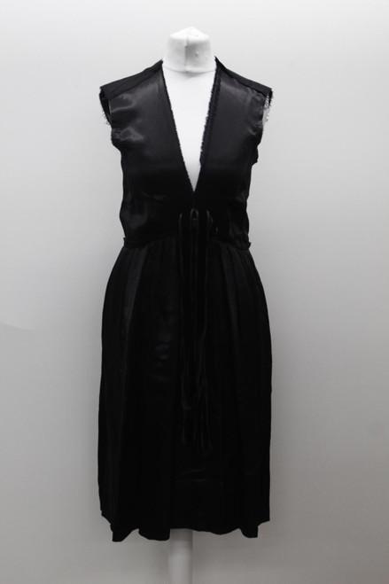 LANVIN Ladies Dark Navy Blue Satin Raw Hem V Neck Sleeveless Shift Dress UK4