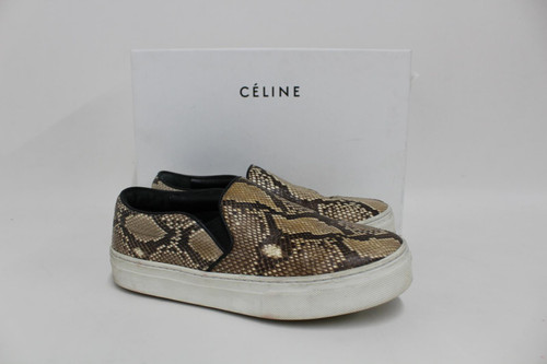 CELINE Ladies Beige Snakeskin Leather Slip-On Penance Sneakers Trainers EU36 UK3