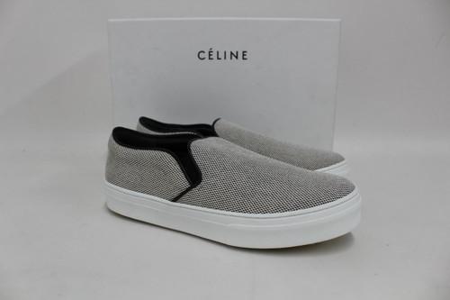 CELINE Ladies Mid Grey Fabric Slip On Stacey Plimsoll Shoes EU36.5 UK3.5 BNIB