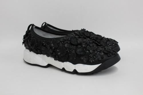 DIOR Ladies Black Leather Floral Applique Fusion Sneaker Trainers EU36 UK3 NEW