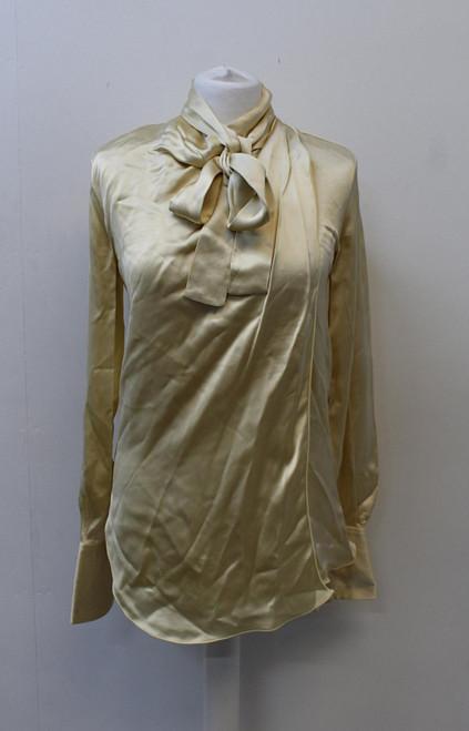 CELINE Ladies Gold Satin High Neck Tie Up Long Sleeve Blouse Top UK8 EU36