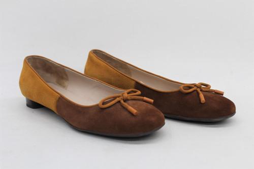 SALVATORE FERRAGAMO Ladies Orange & Brown Suede Slip On Flat Pump Shoes UK8