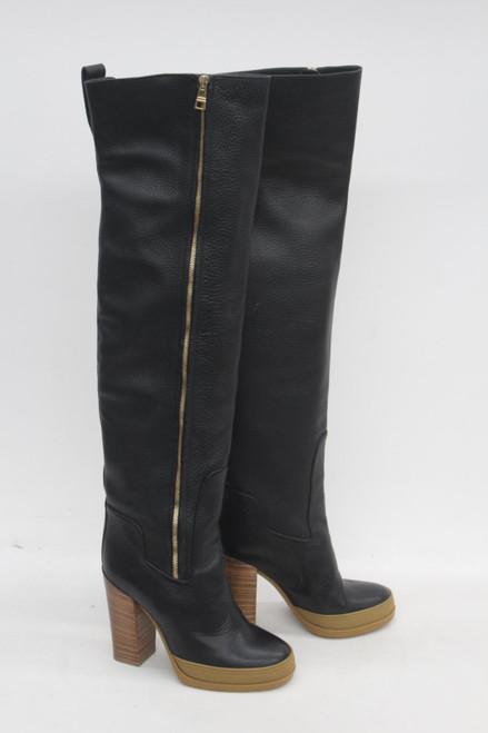 CHLOE Ladies Black Leather Over The Knee Block Heel Side Zip Boots UK7 EU40