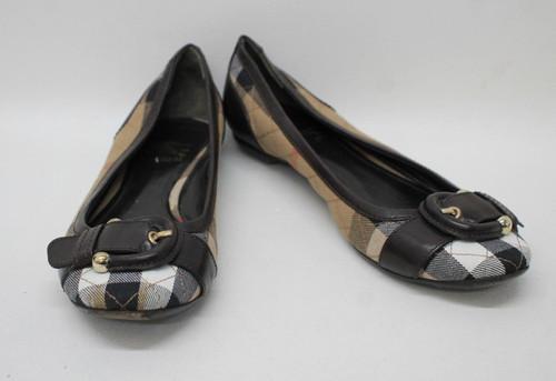 BURBERRY Ladies Beige/Brown Leather Nova Check Buckle Ballerina Shoes EU38 UK5