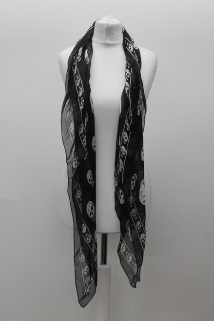 "ALEXANDER MCQUEEN Ladies Black Sheer Silk Skull Print Square Scarf Size 47"""