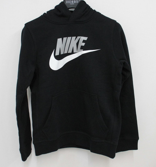 NIKE Boys Black Cotton Jersey Hbr Fleece Overhead Hoodie Jumper Size M BNWT