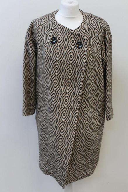 ISABEL MARANT Ladies Brown & Black Crew Neck Long Sleeve Overcoat Size UK8 Small