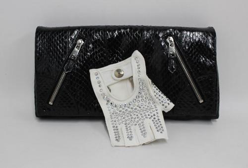 ALEXANDER MCQUEEN Black Python Leather Glove Applique Faithful Clutch Bag NEW