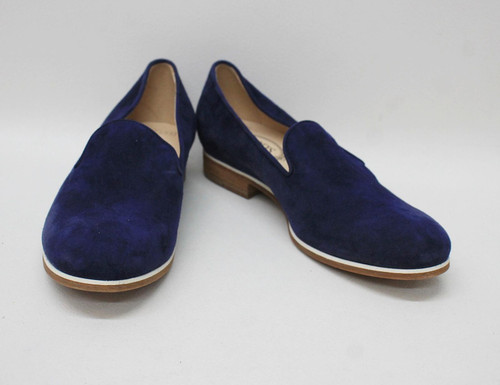 TOD'S Ladies Dark Navy Blue Suede Leather Slip-On Loafer Shoes EU38 UK5