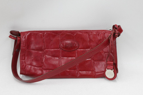 MULBERRY Ladies Red Leather Crocodile Print Small Zip Up Clutch Bag w Strap