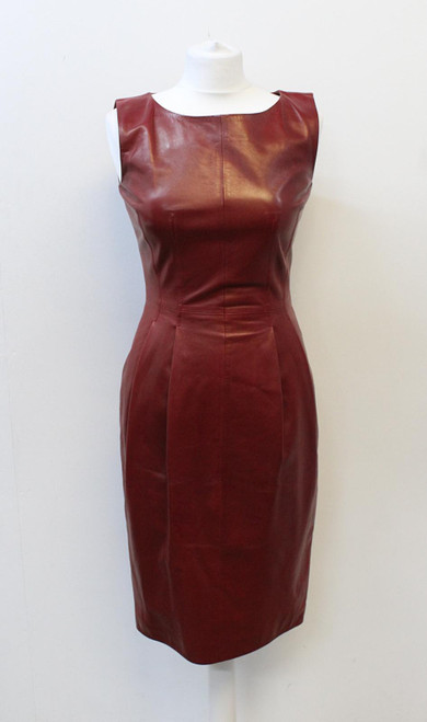 GUCCI Ladies Burgundy Red Leather Sleeveless Knee Length Pencil Dress IT38 UK6