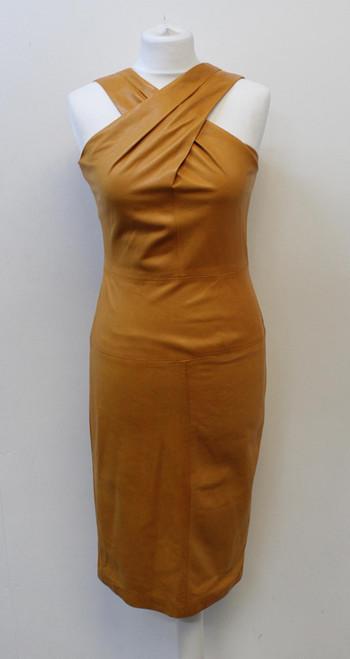 GUCCI Ladies Ochre Yellow Leather Cross Front Sleeveless Pencil Dress IT42 UK10