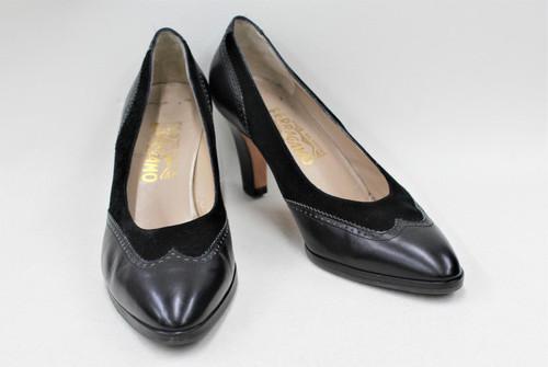 SALVATORE FERRAGAMO Ladies Black Leather Suede Brogue Court Shoes US8 UK6