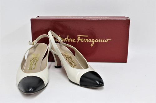 SALAVTORE FERRAGAMO Ladies Cream Black Pointed Toe Slingback Shoes US7.5 UK5.5