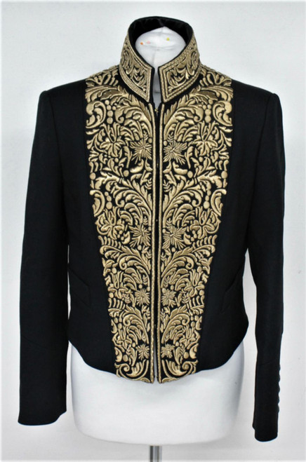 BURBERRY Ladies Black & Gold Embroidered Wool Cropped Collared Jacket UK12