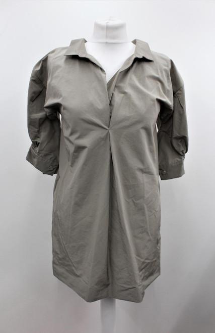 MARNI Ladies Beige Lightweight Short Sleeve Ruched Collar Top w Pockets UK6 NWOT