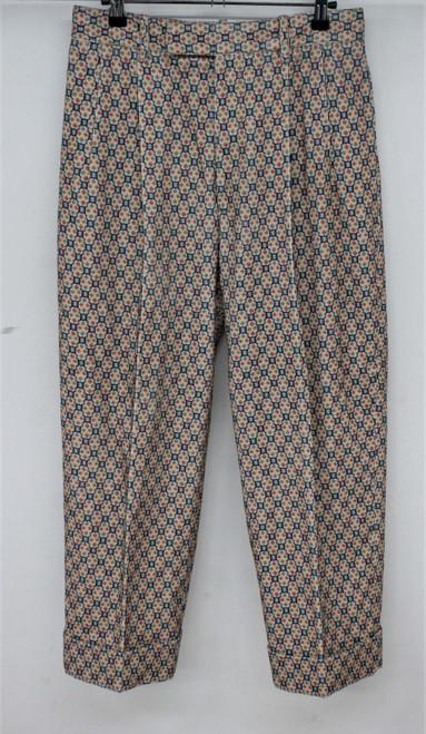 GUCCI Ladies Beige Multi Geometric Print Zip Fly Front Pleat Trousers W30 L25