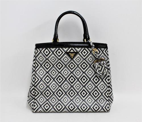 PRADA Ladies Black/White Diamond Printed Pattern Medium Size Leather Handbag
