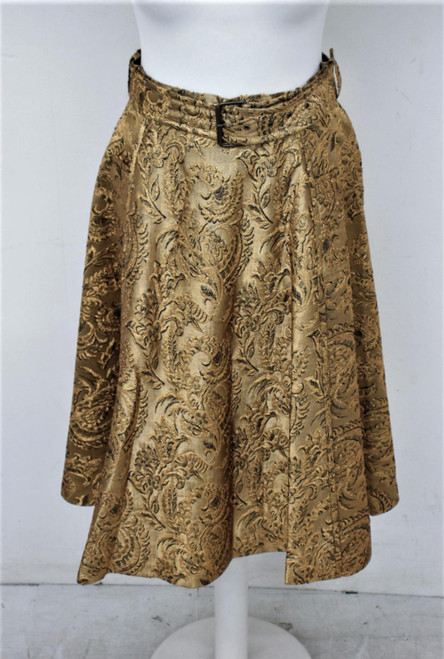 LANVIN Ladies Gold Embroidered Leaf Pattern Midi Skirt w Belt Size 40/UK12