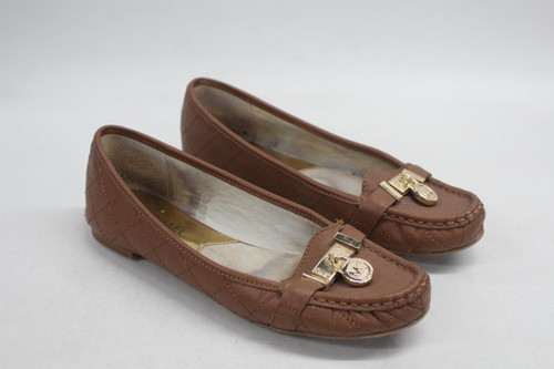 MICHAEL KORS Hamilton Ladies Driving Loafer Leather Brown Shoes US6M UK3