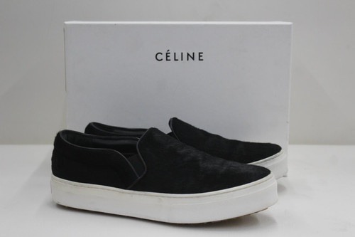 CELINE Ladies Black Pony Hair Leather Slip On Sneaker Shoes UK3.5 EU36.5