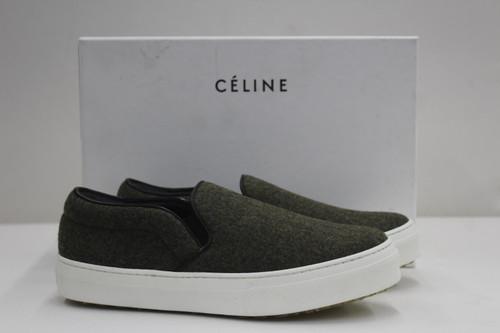 CELINE Ladies Khaki Green Felt Slip On Sneakers Trainers UK3.5 EU36.5 NEW