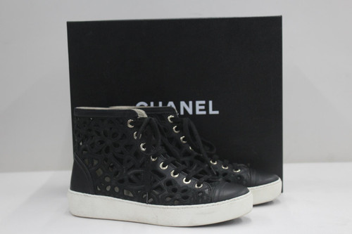 CHANEL Ladies Black Leather Floral Cutout Lace Up Hi Top Sneakers UK3 EU36