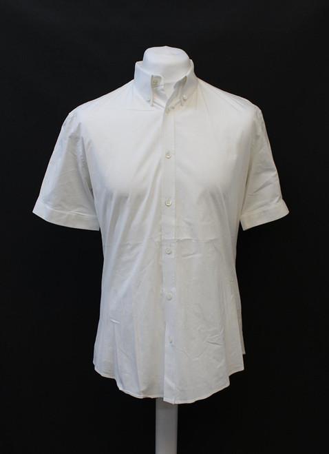 ALEXANDER MCQUEEN Men's White Short Sleeve Stretch Cotton Blend Shirt IT52 UK42