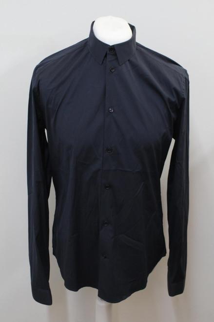"""BALENCIAGA Men's Blue Cotton Long Sleeve Collared Casual Shirt Size 16.5"""""""