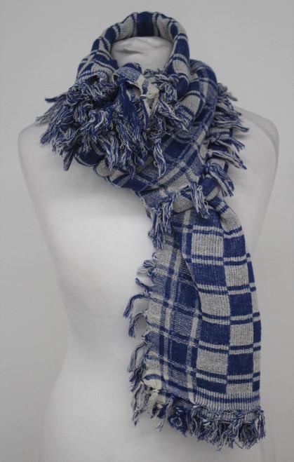 ISABEL MARANT Ladies Blue White Check Silk Rectangular Tasselled Scarf One Size