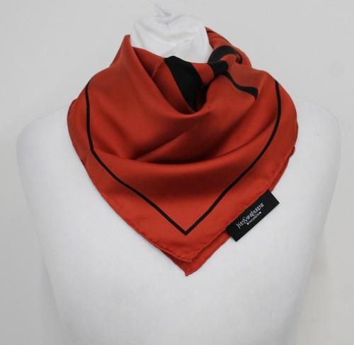 YVES SAINT LAURENT Ladies Black/Orange Logo Print Silk Handkerchief Scarf NEW