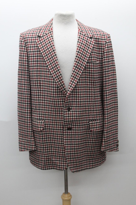CHRISTIAN DIOR Men's Ivory Red Houndstooth Single Breasted Blazer Approx UK46