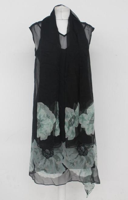 PAUL SMITH Ladies Black Silk Sleeveless Floral Slip Dress w Shawl IT42 UK10