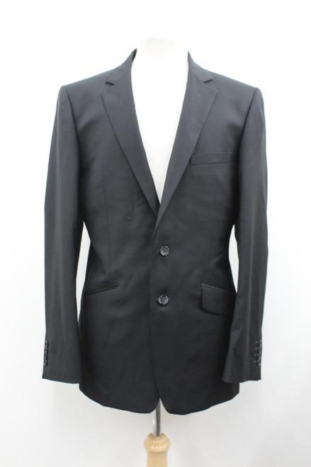 AQUASCUTUM Men's Black Wool Notched Lapel Collar Long Sleeve Suit Jacket UK42L
