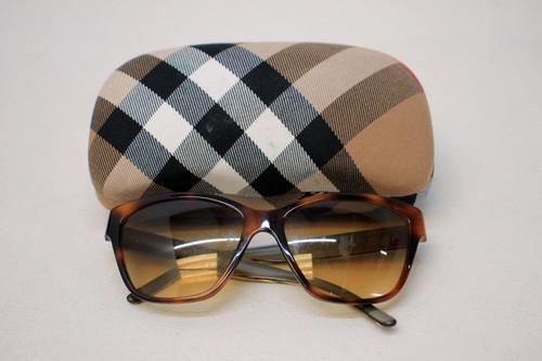 BURBERRY Ladies Brown Golden Tortoise Print Cat Eye 4109 Sunglasses