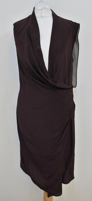 ALL SAINTS Ladies Eggplant Purple Silk Cowl V Neck Midi Dress Size UK10 US6