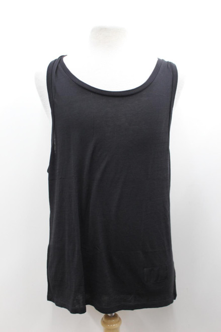 ALEXANDER WANG Men's Black Cotton Stretch Sleeveless Scoop Neck Long Top L