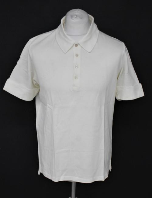 JIL SANDER Men's White 100% Cotton Short Sleeve Collared Polo Shirt Size XL