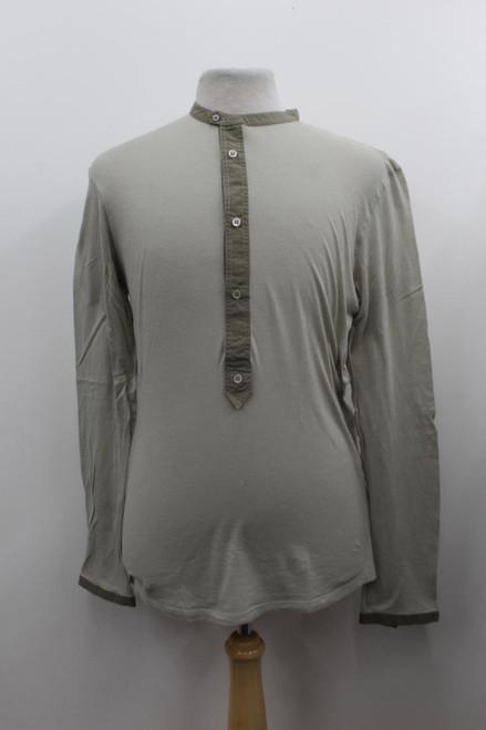 YVES SAINT LAURENT Men's Beige Cotton/Cashmere Stretch Long Sleeve Top L