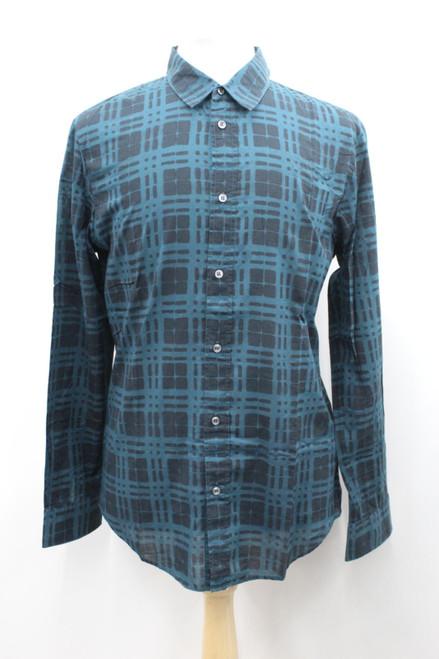 MAISON MARTIN MARGIELA Men's Black/Green Checked Cotton Long Sleeve Shirt 42