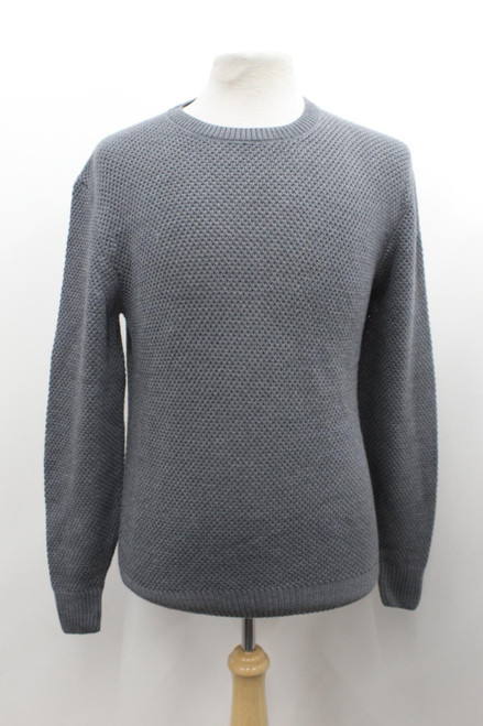 DIOR Men's Grey Pure Wool Mesh Crew Neck Long Sleeve Stretch Knitted Jumper M
