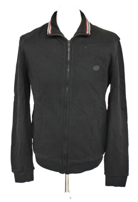 GUCCI Men's Black Cotton Blend Collared Long Sleeve Zip Front Jacket Size XL