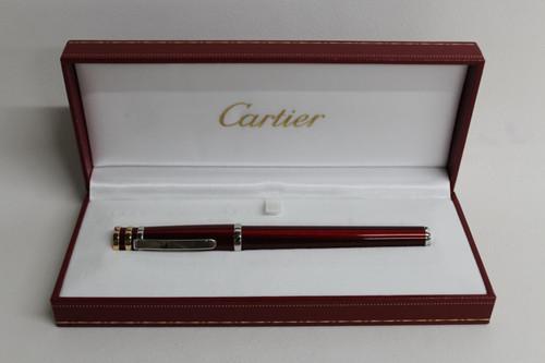 CARTIER Red Trinity De Cartier Bordeaux Rollerball Ballpoint Pen & Storage Case