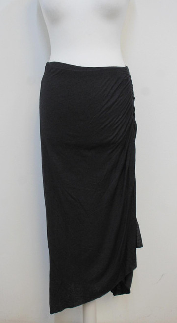ALL SAINTS Ladies Walla Washed Black Gathered Asymmetric Midi Skirt Size M