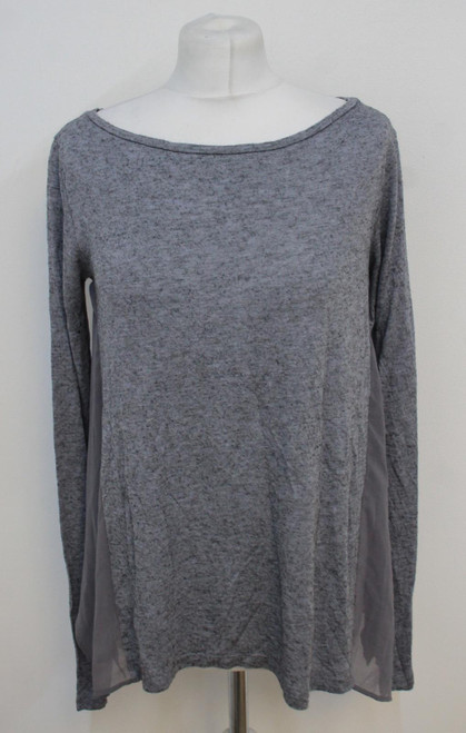 ALL SAINTS Ladies Musson Grey Marl Soft Side Panel Long Sleeve Top Size M