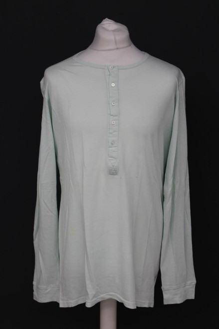BALMAIN Men's Mint Green Cotton Long Sleeve Crew Neck 1/2 Button Top Size L